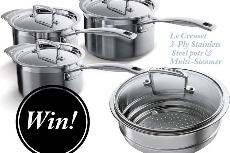 WIN! 3-Ply Stainless Steel pots & multi-steamer from Le Creuset worth over €400
