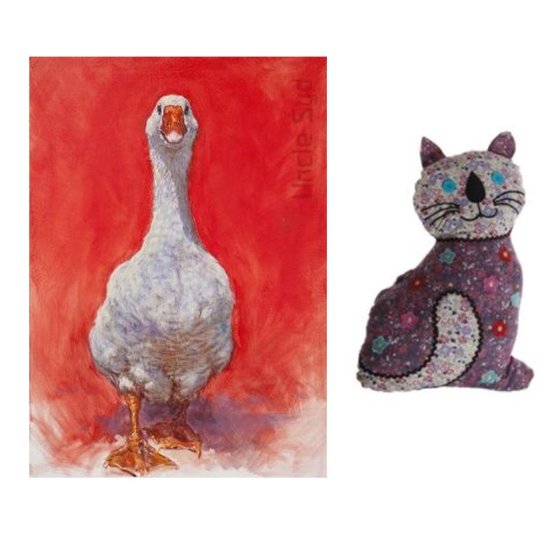 Goose Print & Cat Cushion