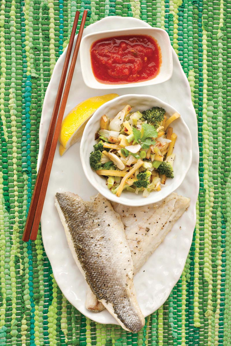 Sea bass with stir-fry vegetables