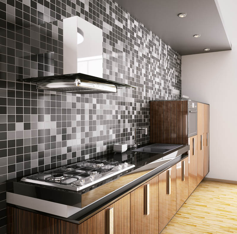 Monochrome tiled splashback and wooden cabinets