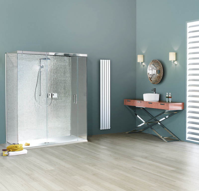 aqua bathroom with freestanding shower