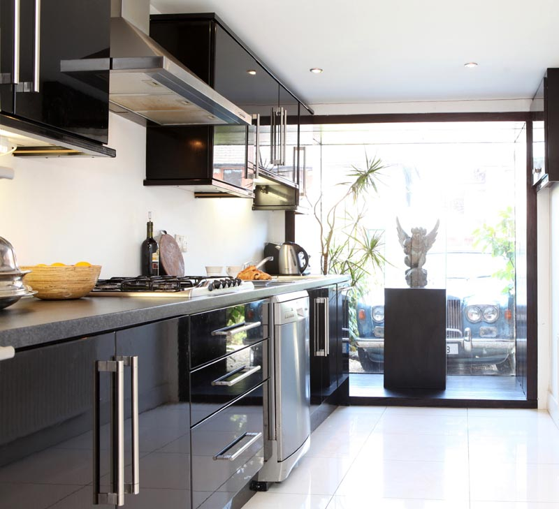 darran and louise's glossy black kitchen
