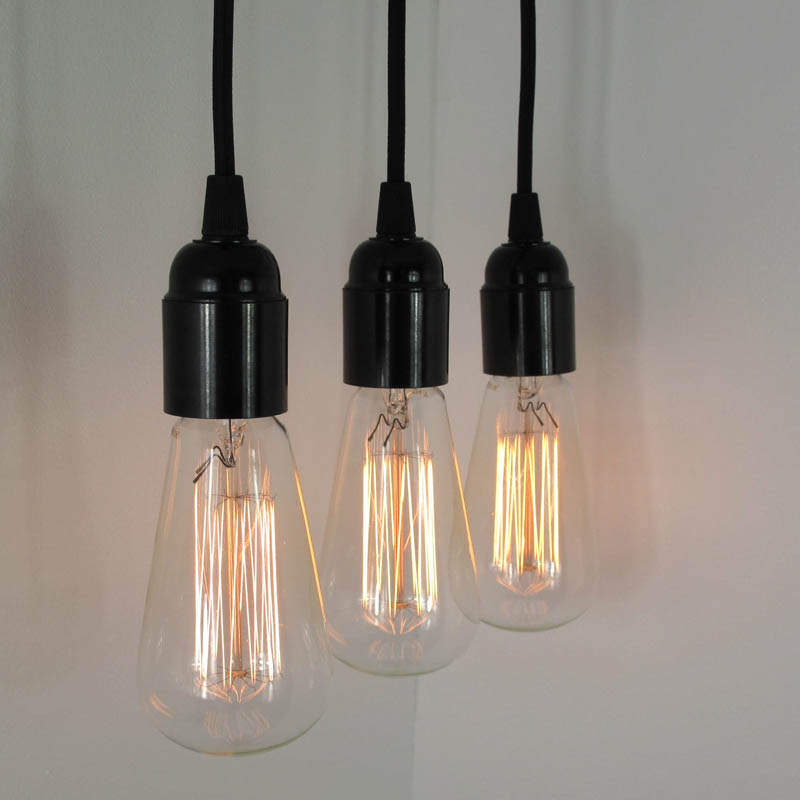 Decorative bulb pendants, £40 + VAT each, Trainspotters,