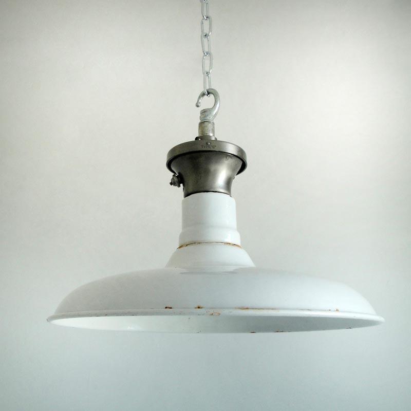 White enamelled factory shade, £160, SkinFlint Design