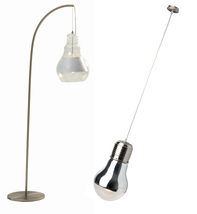 TIN lamp, start from €1,310, Roche Bobois and Bulby casle pendant in chrome, €149.99, Woodies DIY