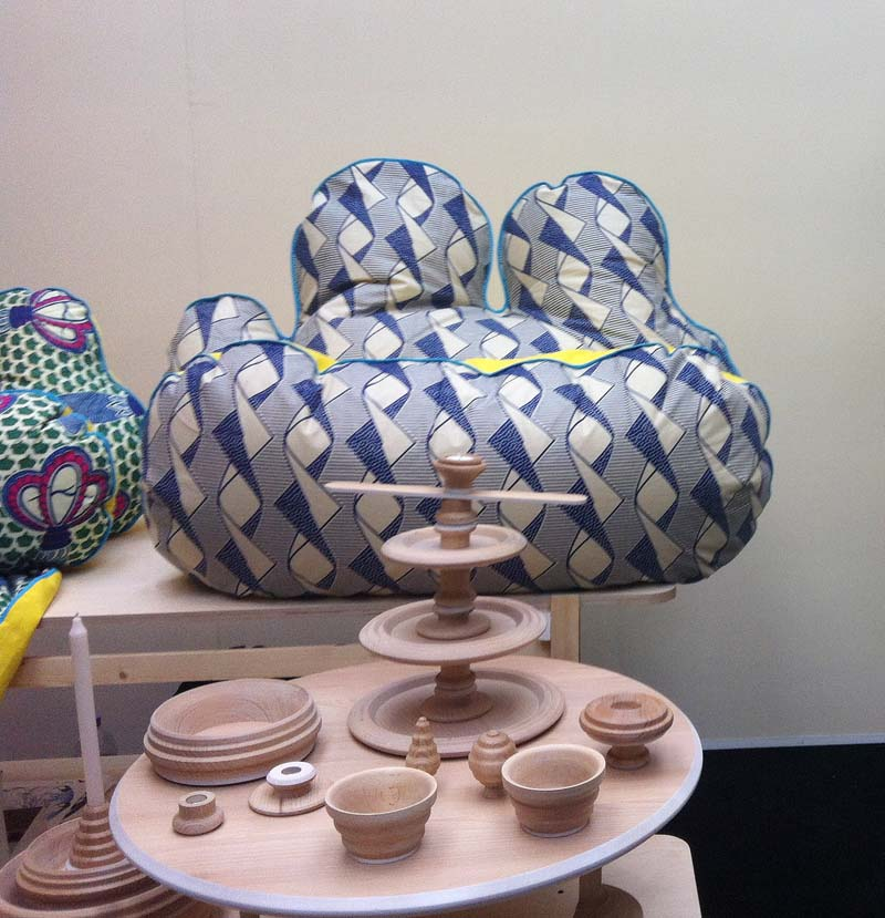 Patrick laing designs - beautiful fabrics on oddly-shaped furniture