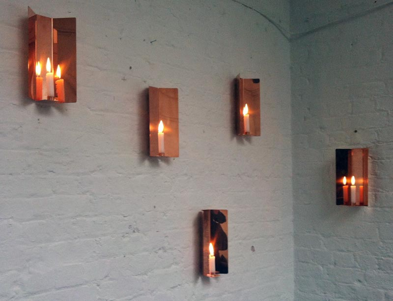 Copper candle holders by Jennifer Chan
