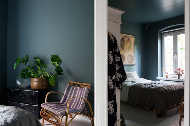 laid-back apartment Sweden scandi interiors dark green