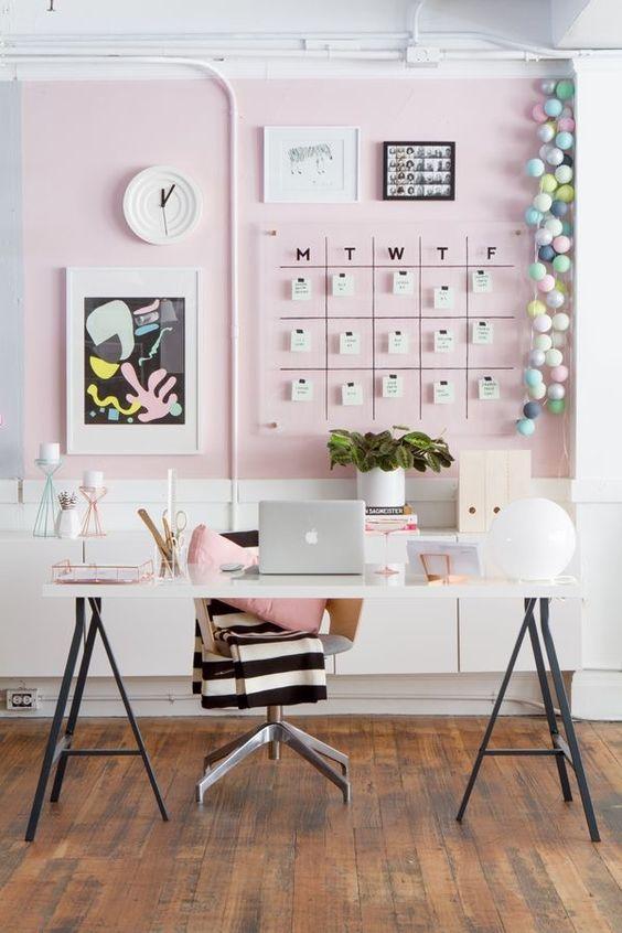 Gorgeous blush pink desk inspiration