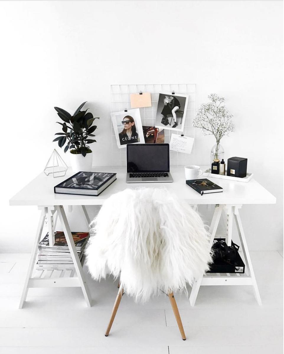 Minimal monochrome desk