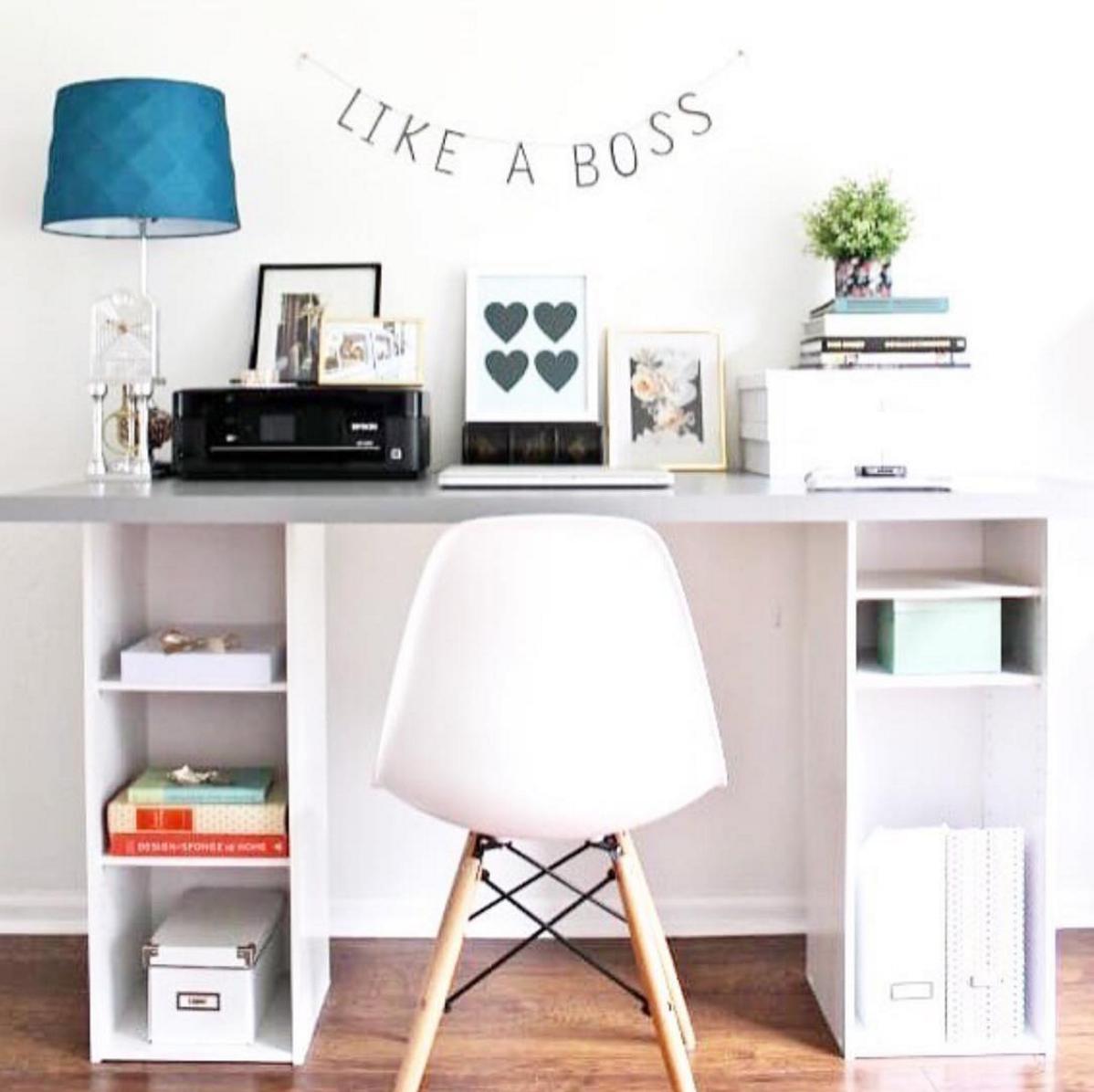 Good vibes blush pink desk inspo