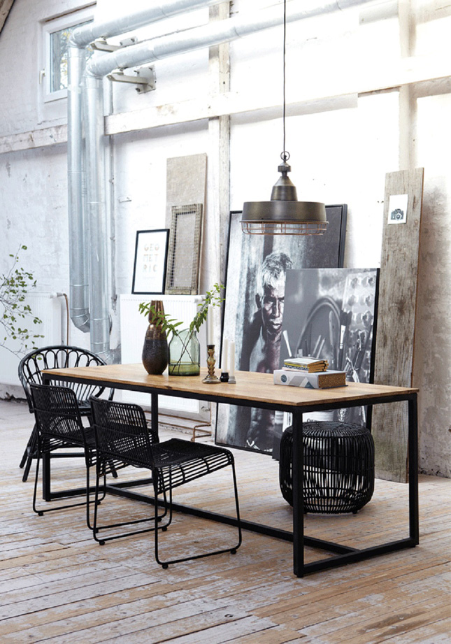 The industrial trend is showing no signs of going anywhere and one of the easiest places to incorporate it is in your dining room