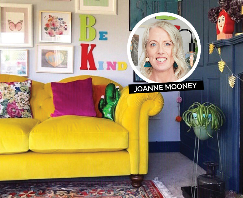 Joanne Mooney's living room with yellow DFS Windsor couch