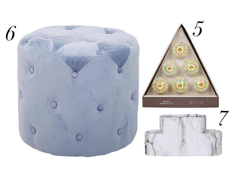 Homesense hero awards pouffe, drawer pulls and bathroom organiser