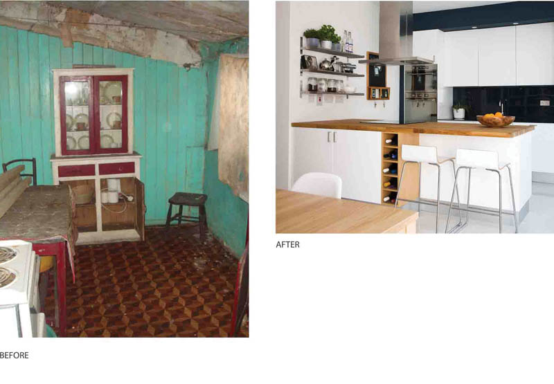 Portobello house - Kitchen before and after