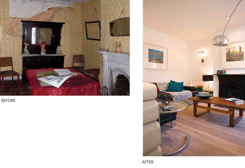 Portobello house - sitting room before and after