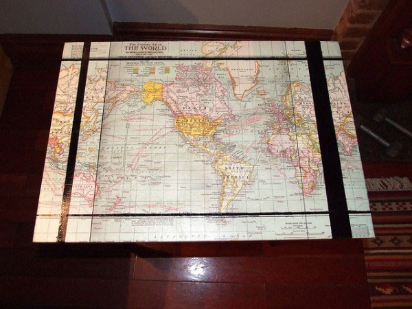 Old World Map Coffee Table.How To Make Your Own Map Coffee Table Houseandhome Ie