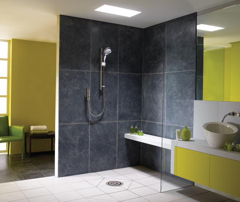 chartreuse and slate wet room bathroom