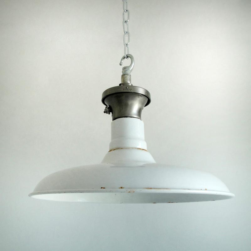 White enamelled factory shade, £160, SkinFlint Design