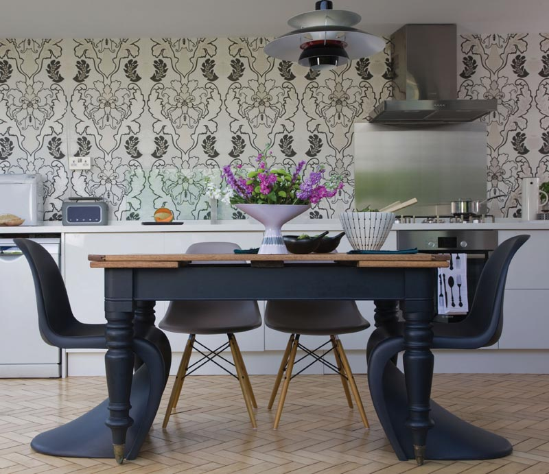 kitchen featuring baroque wallpaper