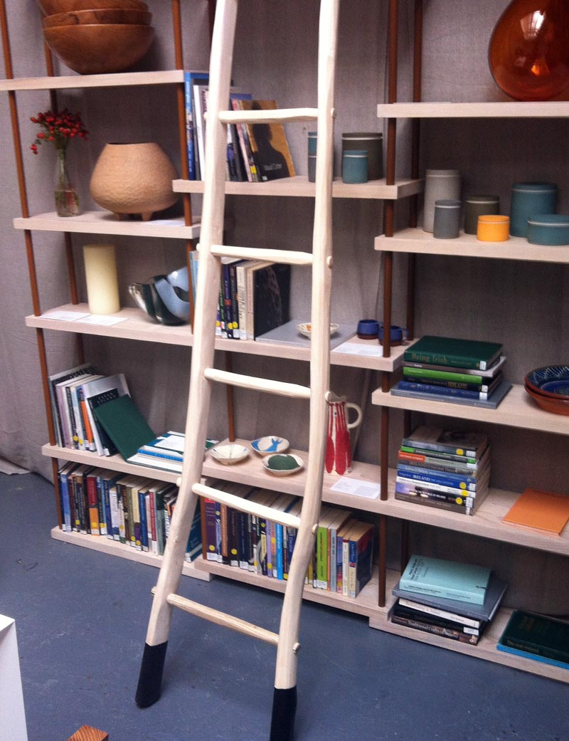 Bookcase by Designgoat, ladder by James Carroll of Stickman with various Irish design objects